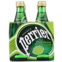 巴黎水(Perrier)天然含汽矿泉水(青柠味)气泡水 330ml*4瓶/组 法国进口