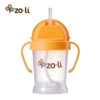 Zoli 儿童吸管杯学饮杯训练杯 宝宝防漏带手柄水杯 180ml橙色 美国原装进口