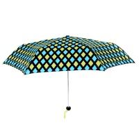 TOTES 青绿菱格手动3折纤巧雨伞 晴雨伞 防晒伞 女 遮阳防紫外线折叠伞 口袋伞 青绿菱格 聚酯纤维